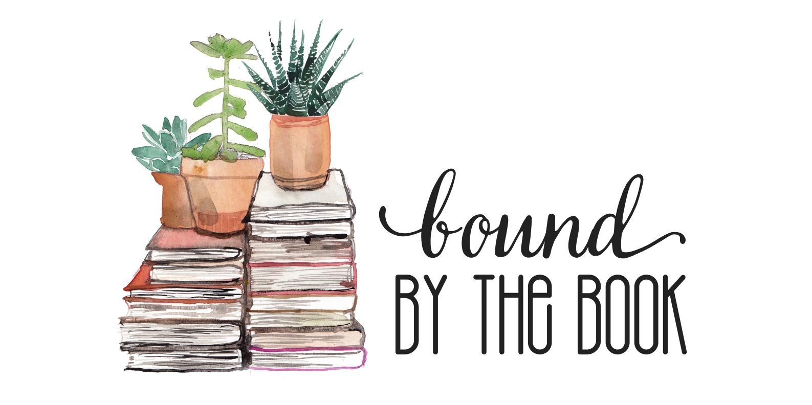 bound by the book header image with two stacks of books and three succulent plants on top of the stacks